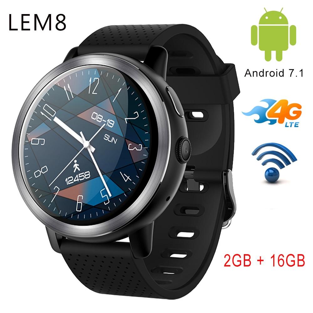 LEM8 LEM8 4G Смарт-часы Android 7,1 Wifi gps часы телефон Оперативная память 2 ГБ + Встроенная память 16 ГБ 1,39 дюймов AMOLED Smartwatch С 2MP Камера SIM