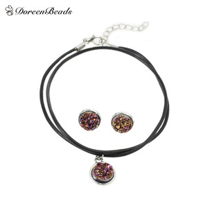 DoreenBeads Handmade Antique silver color Drusy Resin Cabochon Pendant Necklace silver color Earrings 48cm 16x14mm 1Set