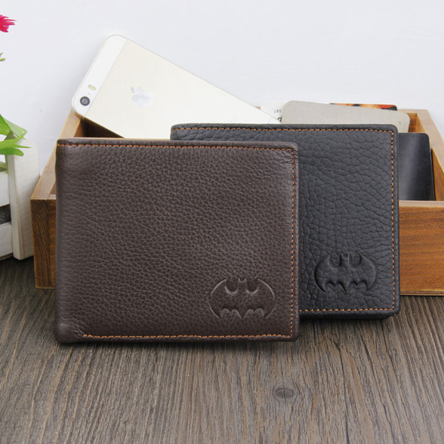 Genuine Leather Men Wallet Batman Casual Purse Card Holder