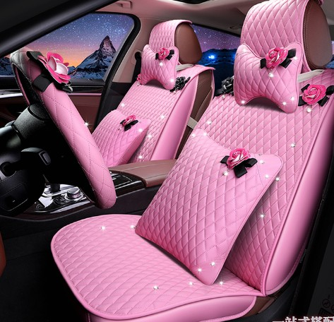 Girls womens fashion cute cartoon flower diamond pink anti slip girls womens fashion cute cartoon flower diamond pink anti slip diamond shaped universal car seat cover set in automobiles seat covers from automobiles mightylinksfo
