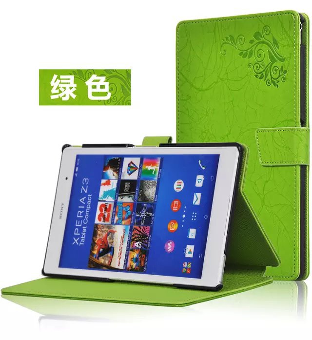 For Sony Xperia Z3 Tablet Compact SGP621/641 8'' Flower Print Magnet Closure Case Stand PU Leather Case Smart Sleep Fold Cover x line tpu case gel silicone tablet case skin rubber cover pouch sleeve bag for sony xperia z3 8 0 tablet compact sgp621 sgp641