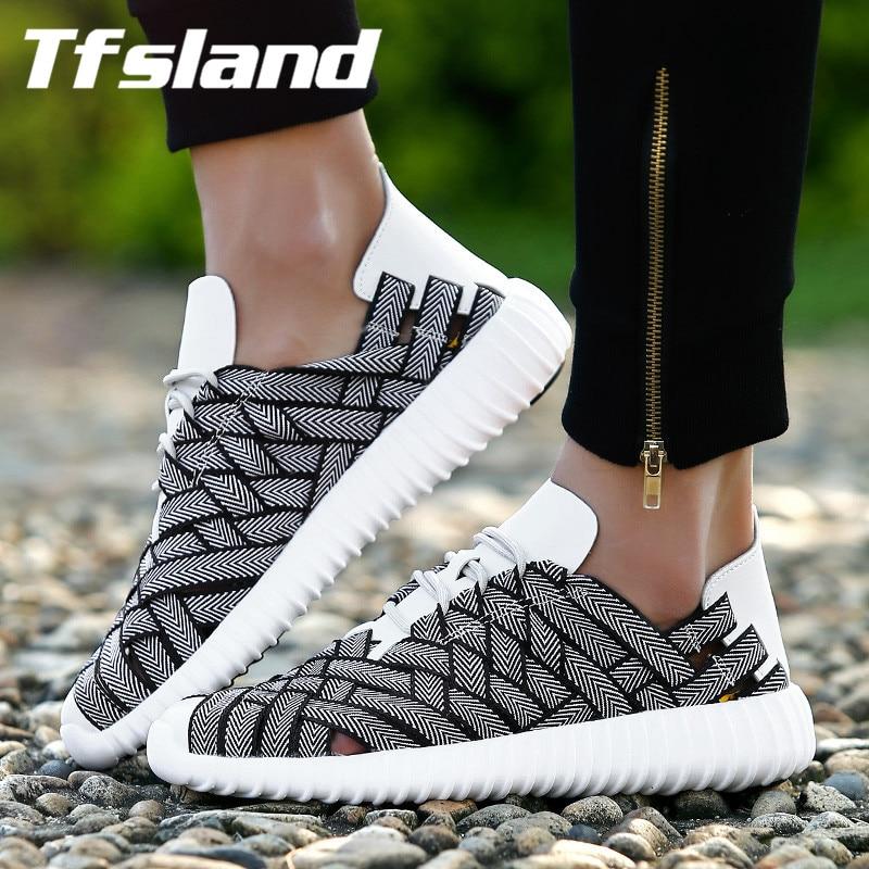 Tfsland Liefhebbers Hand Breien Ademend Demping Loopschoenen Lace Up Comfortabele Schoenen Mannen Vrouwen Koppels Sportschoenen Zapatillas