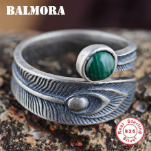 BALMORA 100% Real 925 Sterling Silver Jewelry Malachite Open Rings for Women Men Gift High Quality Free Shipping Bijoux SY20700(China)