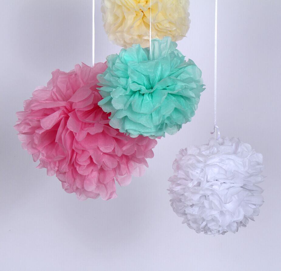 100 Mixed Size Tissue Paper Pom Poms Pick Your Colors Hanging