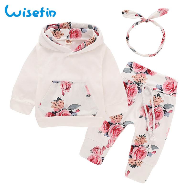 72c0fc640 Cheap Rosa estampado 3 piezas ropa de bebé niña conjunto ropa de otoño para  bebés Tops