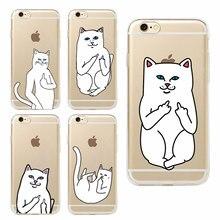 Pocket Cat Middle Finger Cat Soft Phone Case Coque Fundas Capa For iphone 7 7Plus 6 6S 6Plus 5 5S SE 5C 4 4S SAMSUNG GALAXY