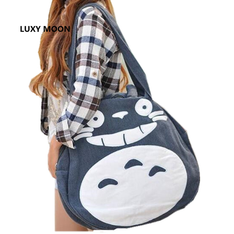 2018 Japan Funny Totoro Bag Cute Women Over Shoulder bags Large Ladies Canvas Cartoon Preppy School Bags for Teenage Girls L989 cute cartoon women bag flower animals printing oxford storage bags kawaii lunch bag for girls food bag school lunch box z0