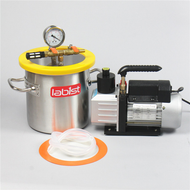 1.6 Gallon (6.3L)  Vacuum Chamber  Kit  With  2.5 CFM (1.4 L/s) 220V  Pump,200mmx200mm Stainless Steel Vacuum Degassing Chamber