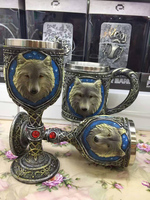 Resin stainless steel Wolf Cup Coffee cup Water Cup 3D Wolf head Goblet Wine glass Halloween Party Drinkware
