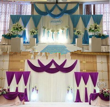 Customized  3set Purple White Wedding Backdrop Curtain Backdrop T Stage Backdrop Drape Party Decoration Supplies
