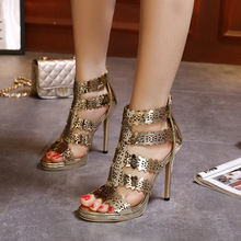 Women Pumps Peep Toe Stiletto Sexy Fashion Shoes Ladies Gold Shiny Dazzling Cut-outs Breathable Nightclub Shoe