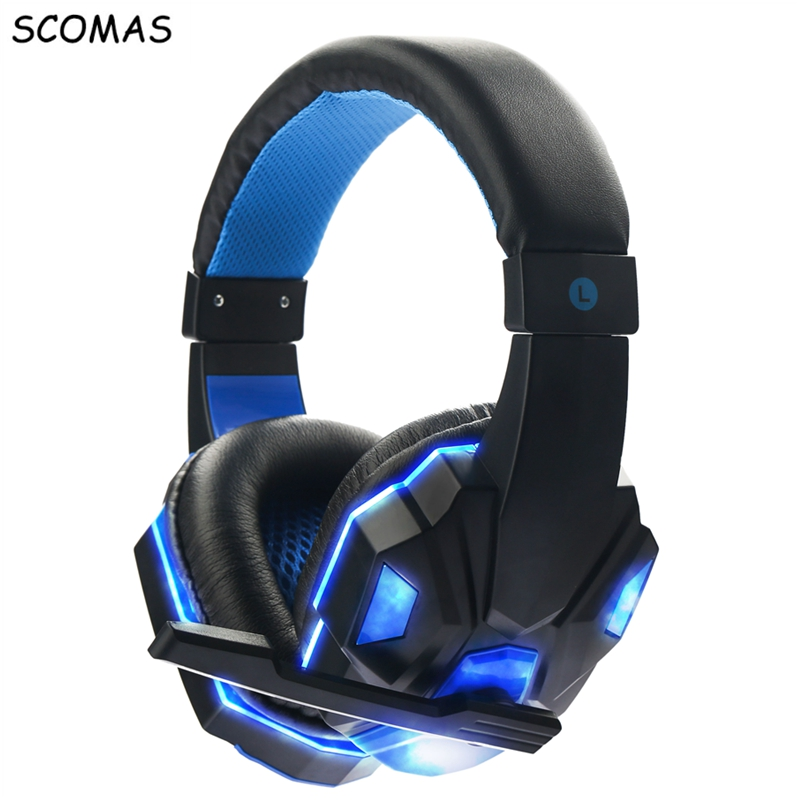 SCOMAS Stereo Gaming Headset with Over-Ear Headphones glowing noise cancelling video Game headphone with mic for pc casque gamer led bass hd gaming headset mic stereo computer gamer over ear headband headphone noise cancelling with microphone for pc game