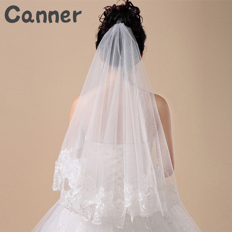 Women 150CM One Layer Lace Edge Wedding Veil Ivory One Layer Long Bridal Veil Lace Edge Wedding Accessories Veu De Noiva Gift A4