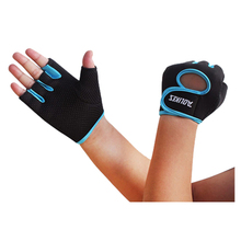 Black+Blue Men Womens Sports Fitness Exercise Gloves Workout Weight Lifting Gym Mittens S M L
