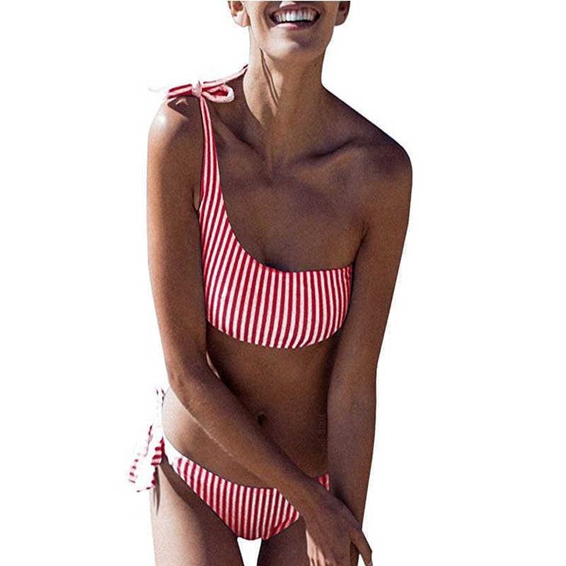 HTB1TnmObR1D3KVjSZFyq6zuFpXaB Sexy Striped Bandage Bikinis Women One Shoulder Bathing Suit Swimwear Low Waist Swimsuit Tube Top Female Summer Beachwear