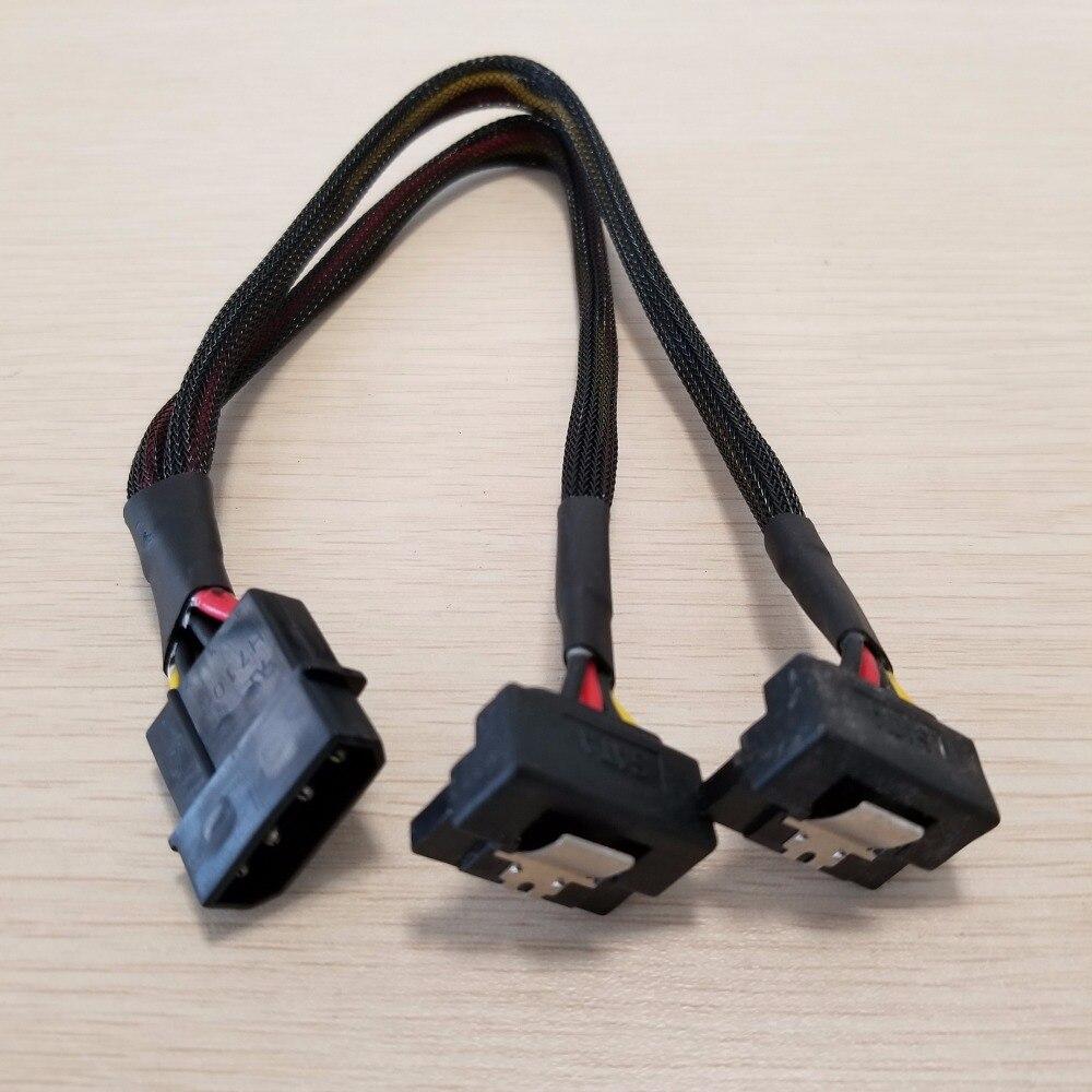 10 pcs/lot PSU 4Pin IDE Molex à double 90 degrés vers le bas Angle 15Pin SATA câble d'alimentation cordon 18AWG fil pour HDD SSD PC bricolage