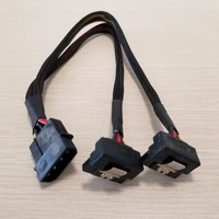 10pcs/lot PSU 4Pin IDE Molex to Dual 90 Degree Down Angle 15Pin SATA Power Cable Cord 18AWG Wire For HDD SSD PC DIY