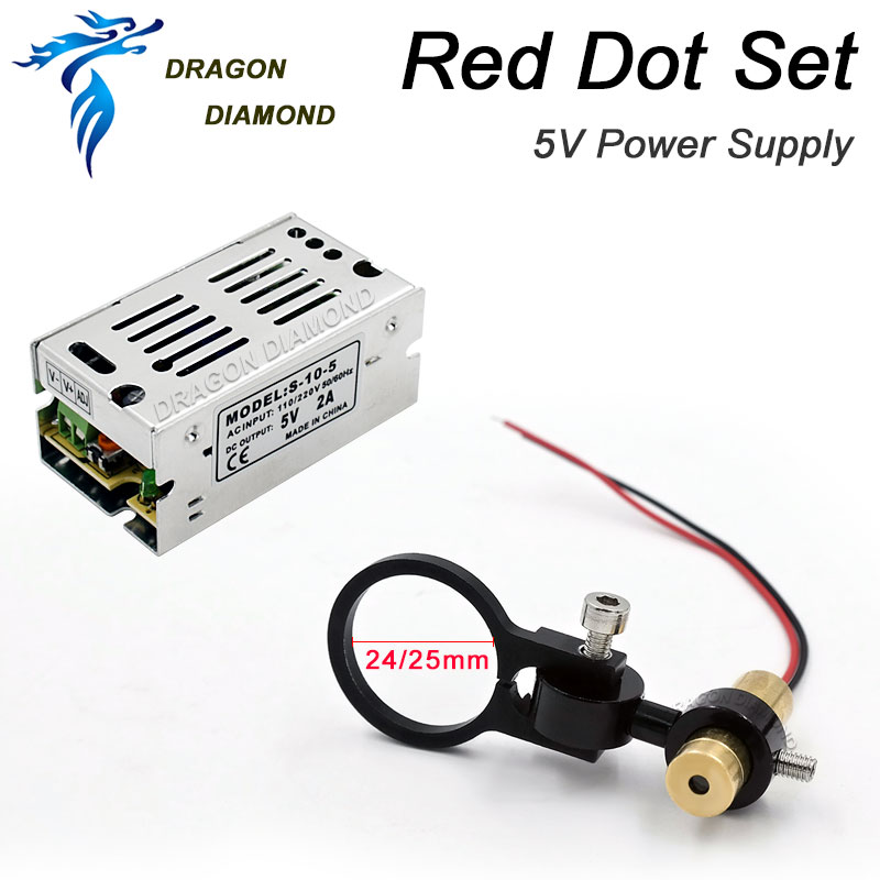 CO2 Laser Machine Diode Module Red Dot Set Positioning DC 5V And Power Supply for DIY Co2 Laser Engraving Cutting Head