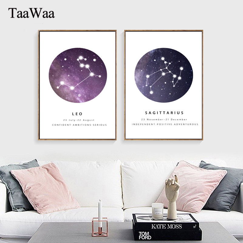 Constellations Nursery Wall Art Canvas Painting Black White Poster Prints Astrology Sign Minimalist Nordic Kids Pictures Decor