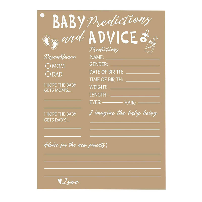 50 Rustic Baby Shower Game Cards Advice And Prediction Cards New Mom&Dad Card To Be For Girl Or Boy Babies Kraft Paper