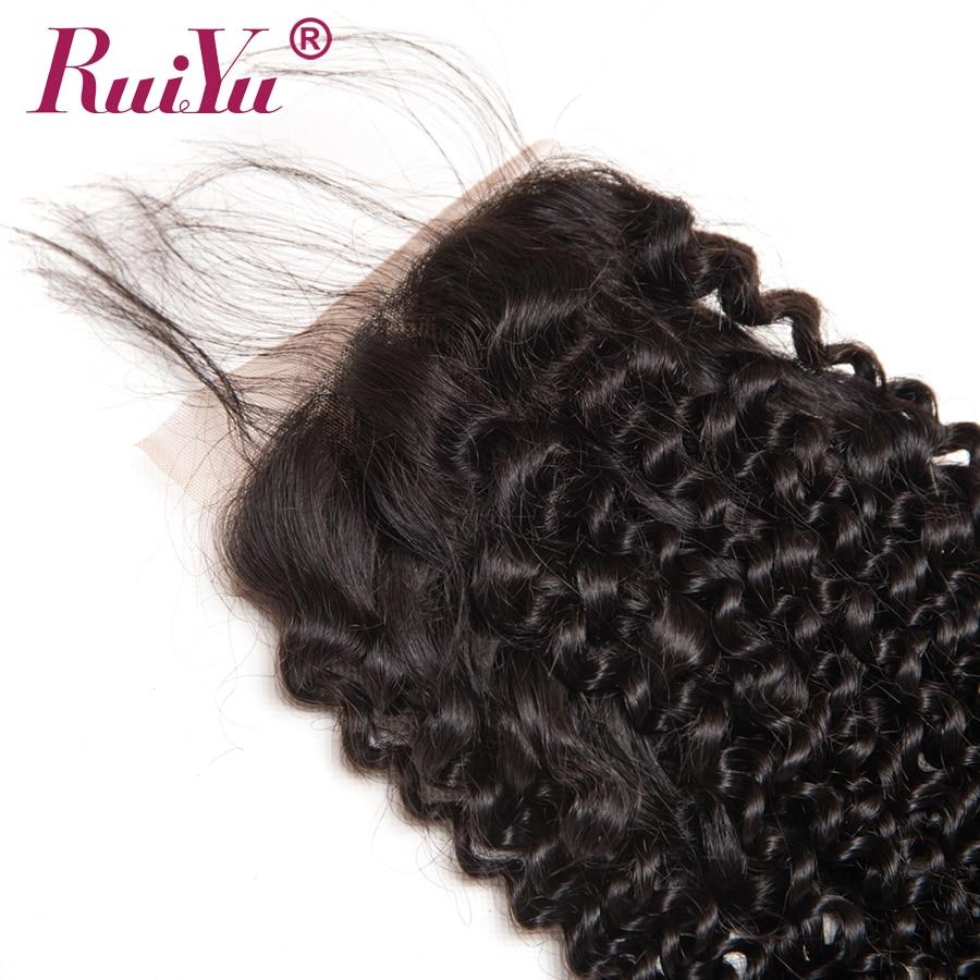 RUIYU Brazil Afro Kinky Curly Lace Closure 100% Penutupan Rambut - Rambut manusia (untuk hitam) - Foto 5