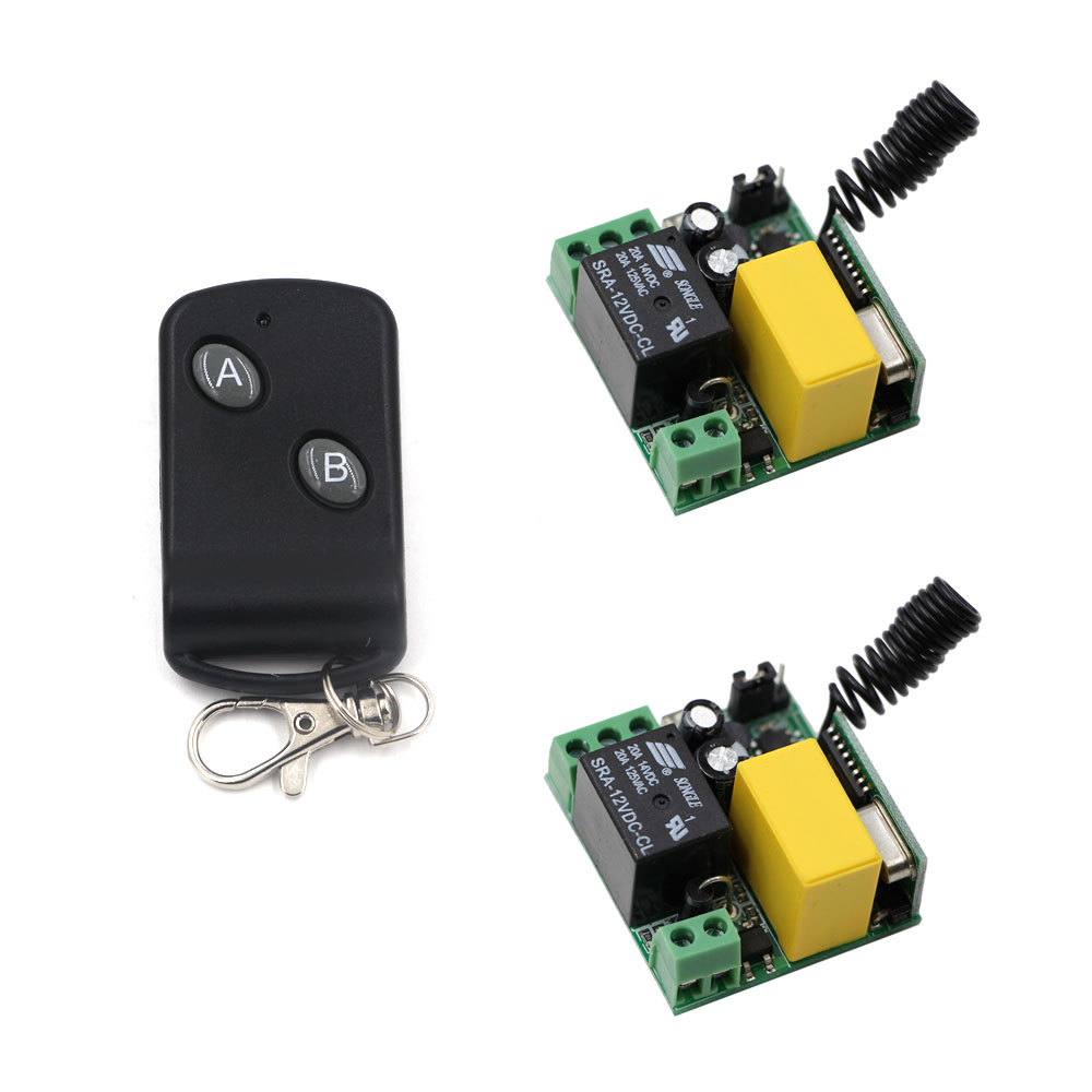 AC 220V 1 CH RF Wireless Remote Control Switch 2pcs Receiver Board &1 pcs Transmitter With 2 Buttons A for ON and B for OFF ac 220 v 1 ch wireless remote control switch system 4x transmitter with 2 buttons 1 x receiver light lamp ledon off 315 433mhz