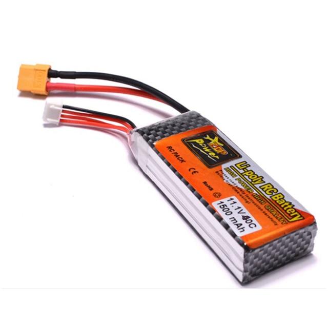 11.1V 1500mAh 3S 40C Lipo Li-Poly Battery XT60 Plug For RC Quadcopter Drone Airplane Toy Free Shipping