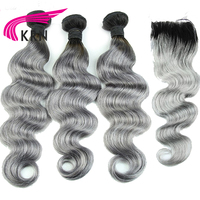 KRN 1B Grey Ombre Body Wave Remy Hair Brazilian Hair Weave Bundles With Lace Closure Blond Color Lace Closure Healthy End