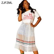 f6b0ebbb25010 ZJFZML Letter Print Sexy T Shirt Dress 2018 Women Black O Neck Short Sleeve  Mesh Long