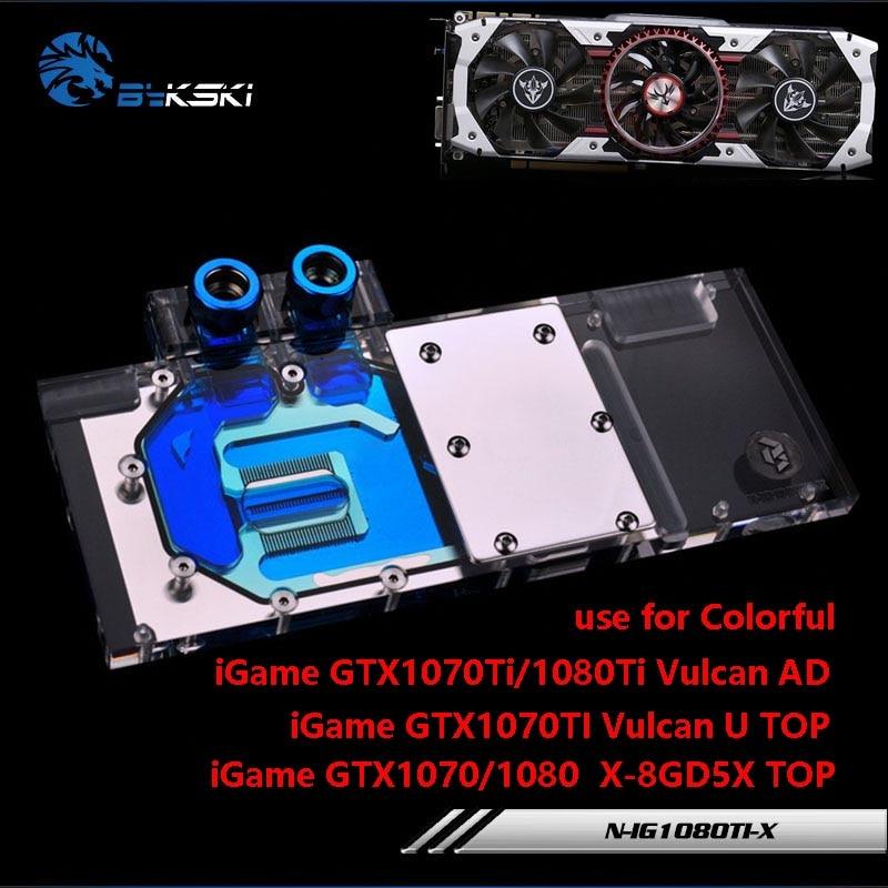BYKSKI Water Block use for COLORFUL iGame GTX1070Ti/1080Ti Vulcan AD GTX1070/1080 X-8GD5X-TOP Full Cover GPU Copper Block RGB