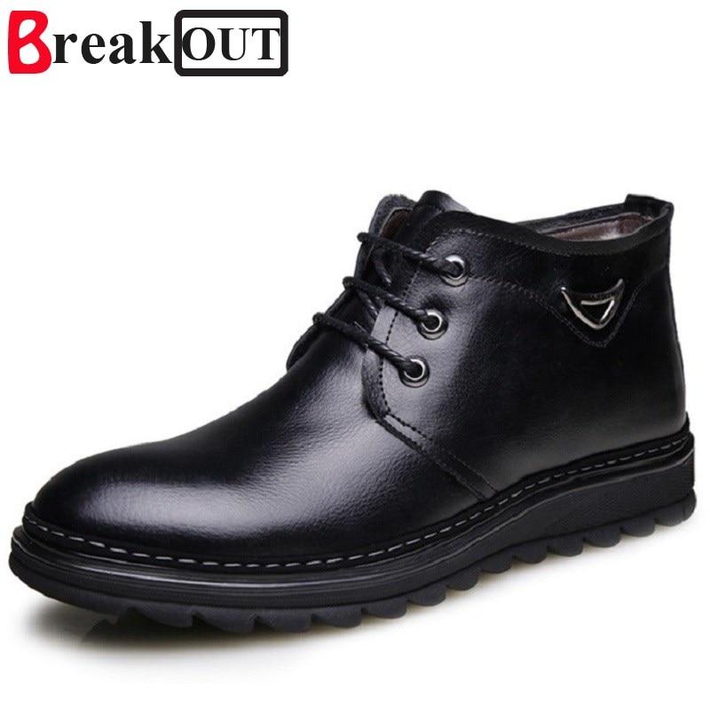 Break Out Men Boots Wool Warm Genuine Leather Men Winter Boots Comfortable Fashion Ankle Boots Men