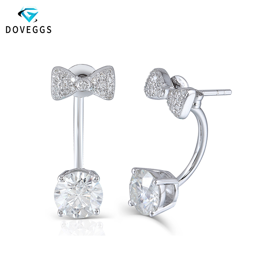 DovEggs 10K White Gold Post 2.1CTW Center 6.5mm H color Lab Grown Moissanite Diamond Earrings Platinum Plated Silver Push Back