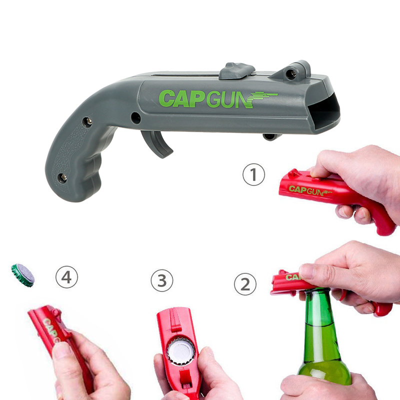 NEW Firing Cap Gun Creative Flying Cap Launcher Bottle Beer Opener(China)