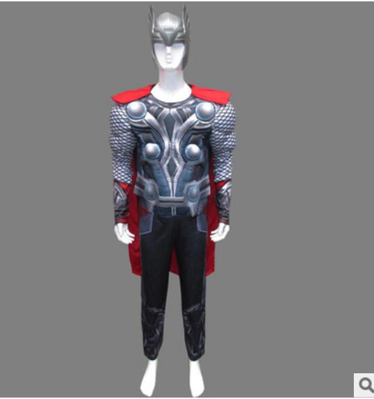 Genuine The Avengers Thor Adult Muscle Halloween Cosplay Costume For Men Marvel Superheroes Fancy Dress Clothing