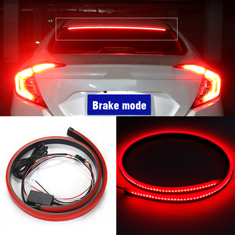 12v Universal Red Flashing Light Car Third Brake Light <font><b>led</b></font> Light bar Install on auto rear window Stop Signal Lamp <font><b>led</b></font> image