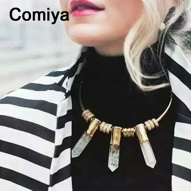 Comiya joyas acero inoxidable mujer fashion gold color zinc alloy geometric imitation stone pendant necklaces wholesale necklace