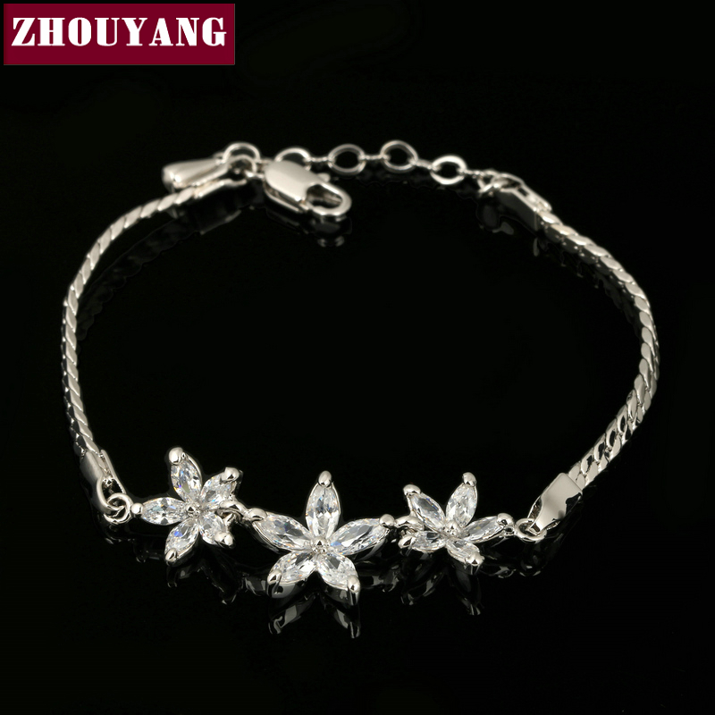 ZHOUYANG Top Quality ZYH019 Three White Flowers White Gold Plated font b Bracelet b font Jewelry