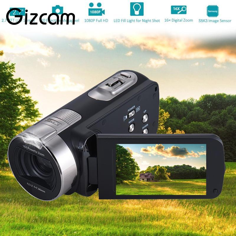 Gizcam Full HD 1080P Portable Digital Camera Video DV Camcorder 16x Zoom 20MP 270 Degree Rotation 2.7