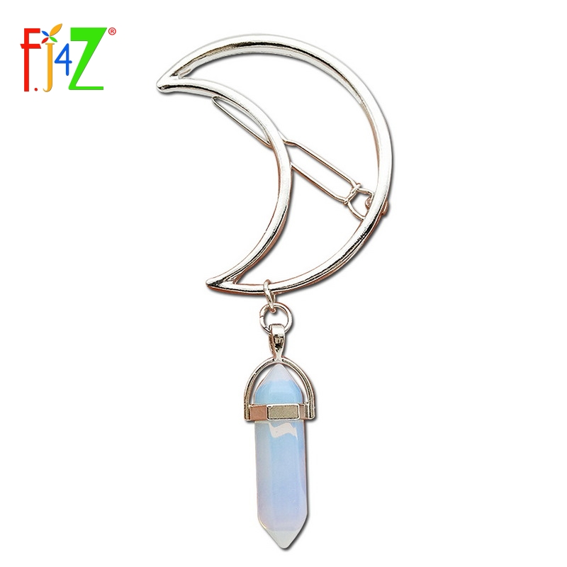 F.J4Z New Hot Fashion Silver Moon Natural Crystal/Stone/Opal Hair Clips for Women Hair J ...