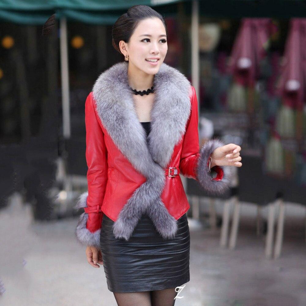 73e96da546f1 lady sheepskin jacket plus size with big fox fur collar silver fox fur down  coat for women genuine leather and fur coat short