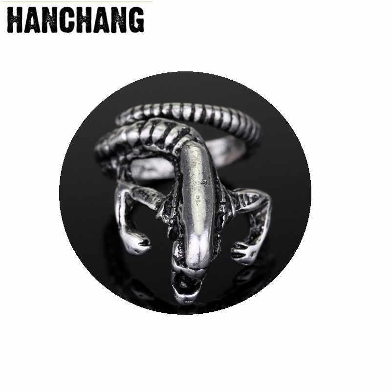 Vintag мужские ювелирные изделия AVP Хищник панк инопланетный Воин кольцо Череп животное Байкер Открытое кольцо готический регулируемый палец кольцо