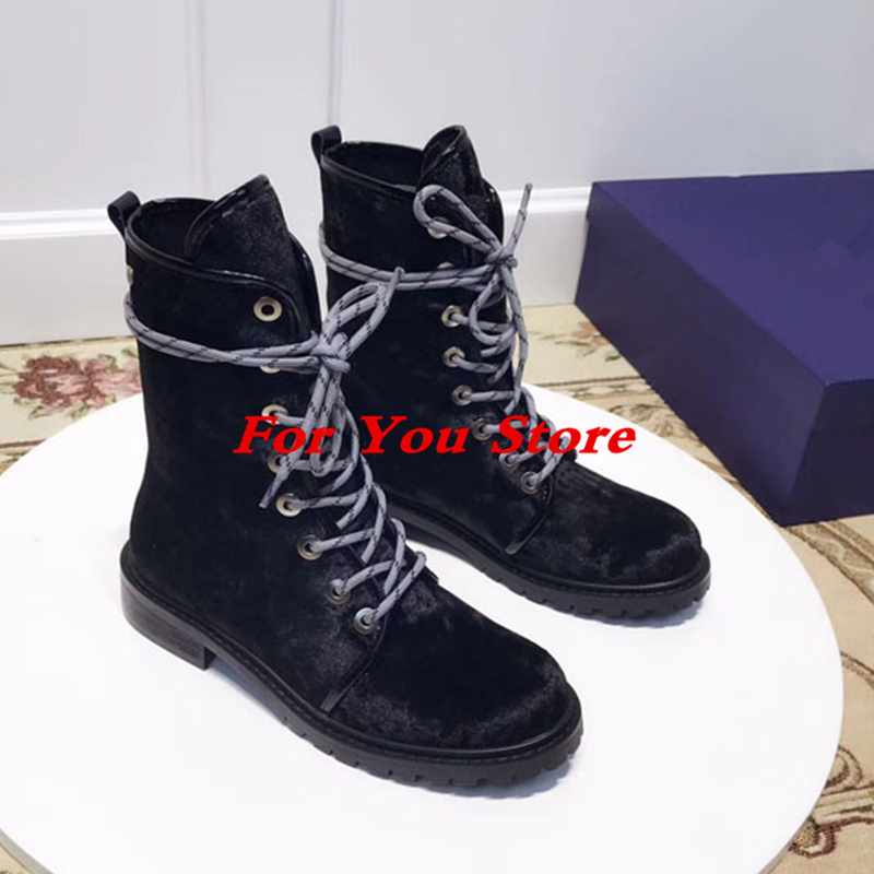 Front Lace Up Butterfly Knot Women Boots Round Toe Suede Shoes Low Heel Short Booties Luxury Brand Super Star Chaussures Femmes booties combat lace up flat suede round toe fall military front casual ankle boots autumn work women shoes gray low heel 2017