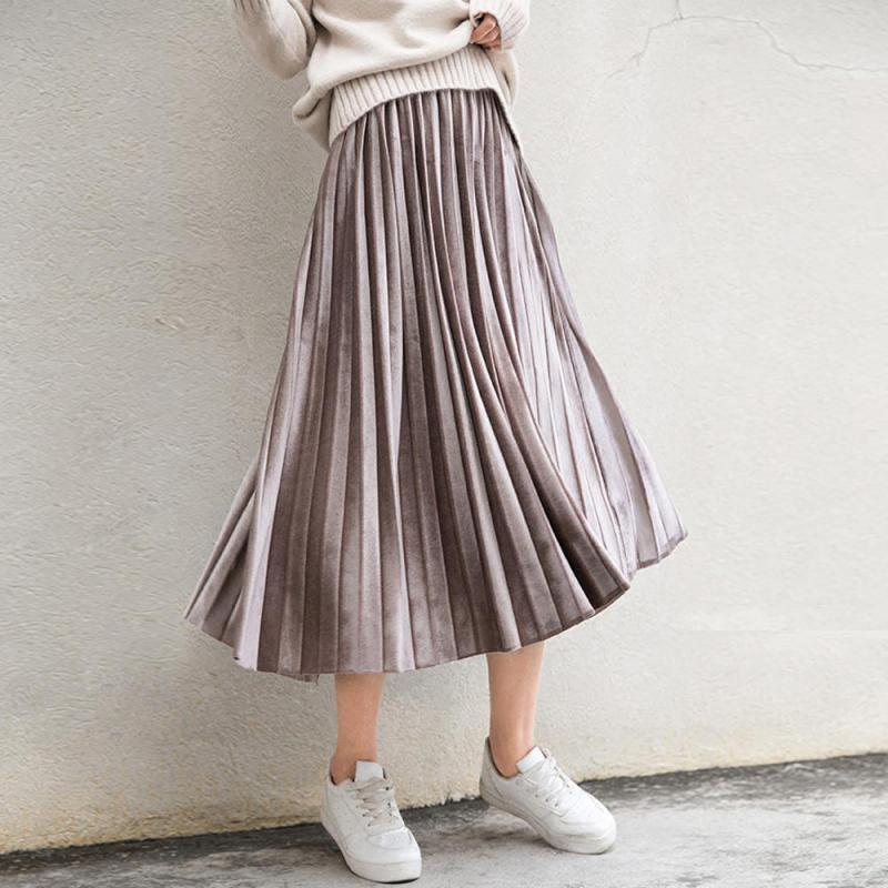 2019 Autumn Skirt New South Korean Style In The Long Section Of Solid Color Velvet Vintage Accordion Pleated Skirt Free Shipping