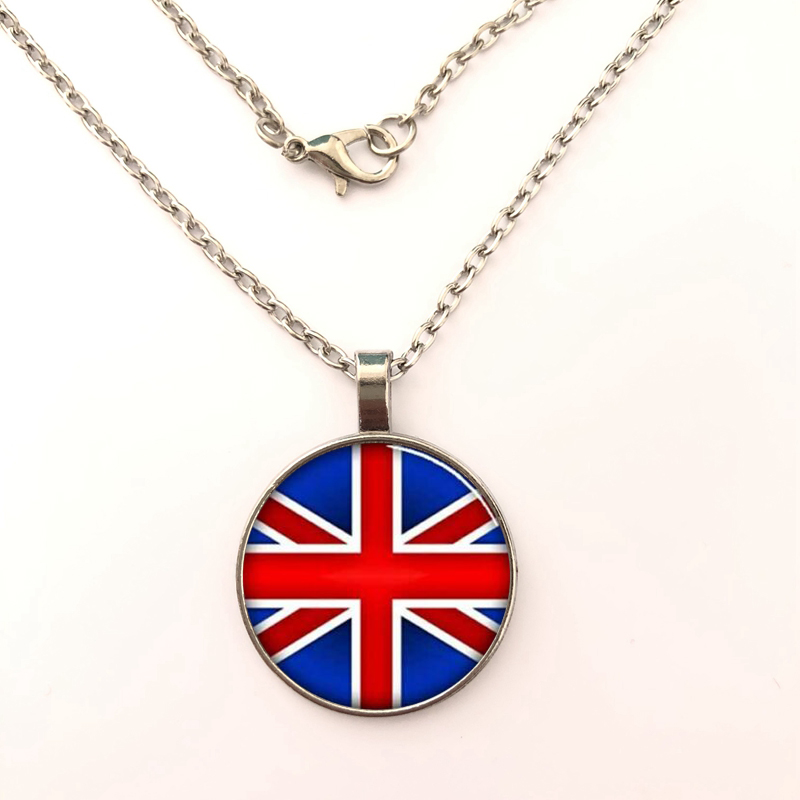 YSDLJG British Union Jack Flag Handcrafted Glass Dome Necklace Pendant  Necklaces Jewelry accessories Gifts