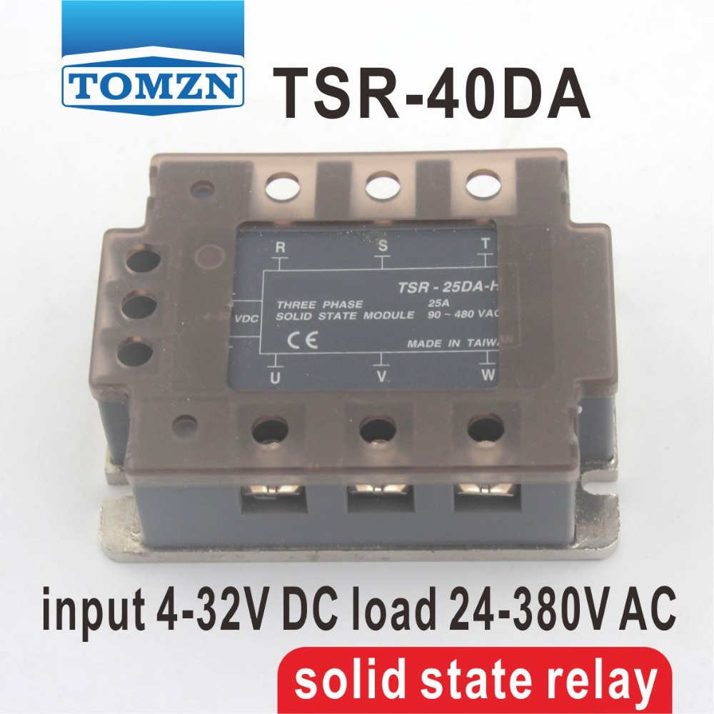 40DA TSR-40DA Three-phase SSR input 4-32V DC load 24-380V AC single phase AC solid state relay free shipping mager 10pcs lot ssr mgr 1 d4825 25a dc ac us single phase solid state relay 220v ssr dc control ac dc ac