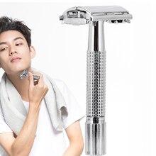 Безопасная Двусторонняя Бритва для мужчин, Парикмахерская прямая бритва, Мужская бритва для бритья, лезвия, бритвенный станок