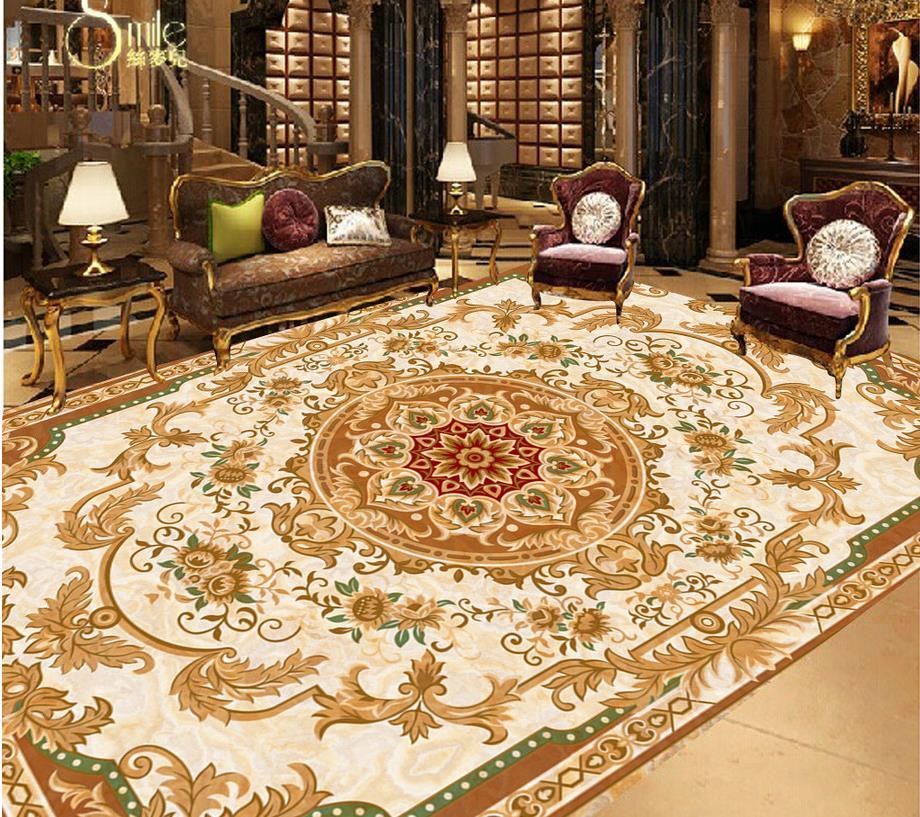 European-style beige marble floor bathroom pvc wallpaper bathroom floor wallpaper Home Decoration style beige