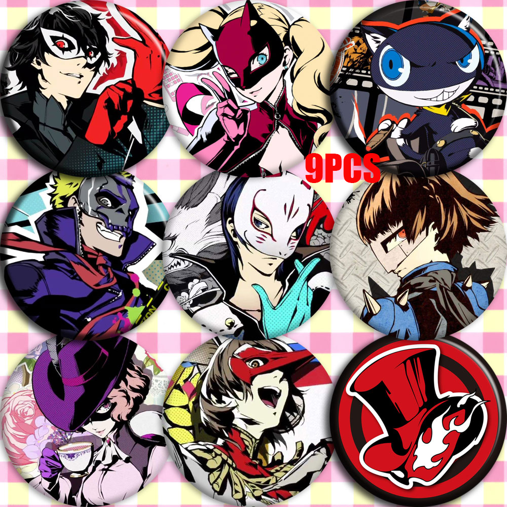 Japan Anime <font><b>Persona</b></font> <font><b>5</b></font> P5 Ren Amamiya Morgana Anne Takamaki Cosplay Bedge Collect Bags Badge For <font><b>Backpack</b></font> Button Brooch Pin Gifts image