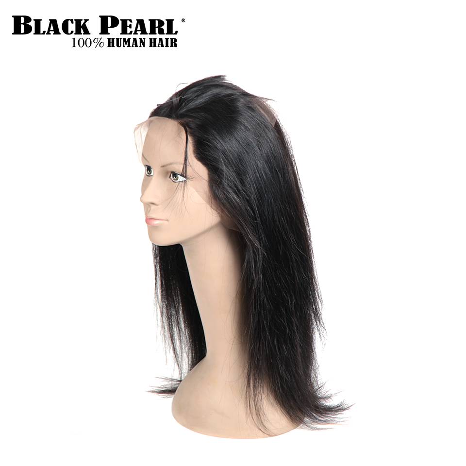Black Pearl Lace Frontal Closure Brazilian Straight Hair 360 Frontal Remy Human Hair Natural Color Free