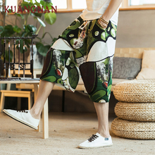25cc3e3be3 KUANGNAN Chinese Style Casual Calf-Length Cotton Linen Streetwear Men Pants  2018